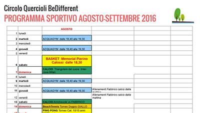 PROGRAMMA SPORTIVO AGOSTO-SETTEMBRE 2016